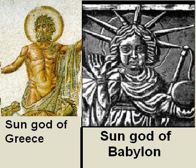 GREEK SUN GOD WITH HALO AND BABYLONIAN SUN GOD WITH SUN RAYS